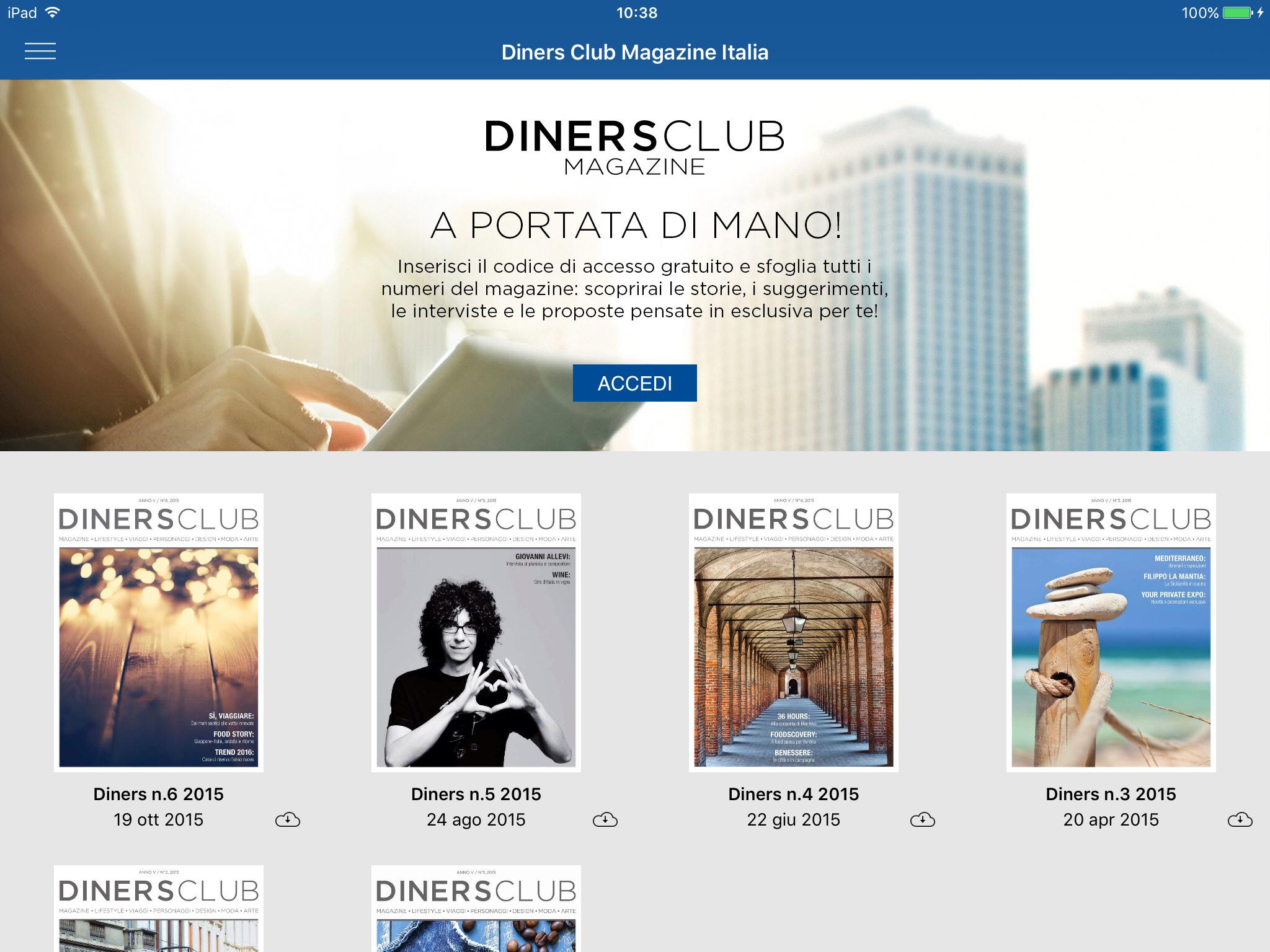 New Diners Club Magazine app